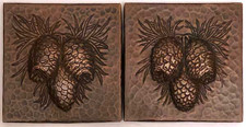 Copper Tile Pine Cone Designs Set of 2