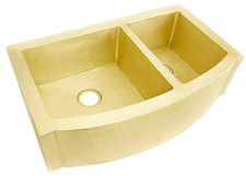 "Kitchen Sink (FHA-W2RFE-6040-BRS) Double Brass Kitchen Sinks 60/40 - 6 sizes (33"" Base Price)"