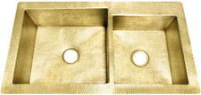 "Kitchen Sink (KDI-W2-6040-BRS) Double Brass Kitchen Sinks 60/40 - 6 sizes (33"" Base Price)"