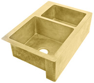 "Farmhouse Sink (FHA-W2-6040-BRS) Double Brass Kitchen Sinks 60/40 - 6 sizes (33"" Base Price)"