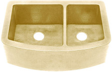 "Kitchen Sink (FHA-W2R-6040-BRS) Double Brass Kitchen Sinks 60/40 - 6 sizes (33"" Base Price)"