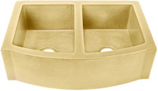 "Kitchen Sink (FHA-W2RFE-5050-BRS) Double Brass Kitchen Sinks 50/50 - 6 sizes (33"" Base Price)"