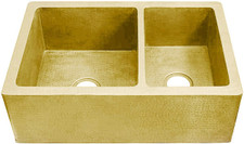 "Farmhouse Sink (FHA-W2-6040F-BRS) Double Brass Kitchen Sinks 60/40 - 6 sizes (33"" Base Price)"