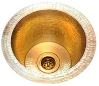 1-(RBV10-MB+DRN) Mini Round Hammered Brass Bar Sink+Drain
