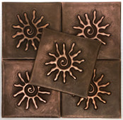 Set of 5 Copper Tile (TL303-4x4-SM-MC) Infinity Sun Design