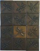 Set of 12 Copper Tile (TL808) Dragonfly Design