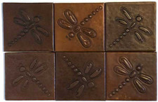 Set of 6 Copper Tile (TL808) Dragonfly Design