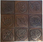 Set of 9 Copper Tile (TL417-F) Large Leaf Design