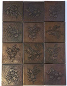 Set of 12 4x4 Copper Tile (TL313) Olive Branch Design