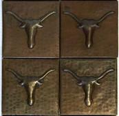 Set of 4 Copper Tile (TL349) Longhorn Design