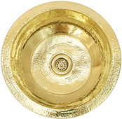 Round hammered shiny brass bar sink