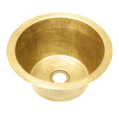 Round hammered rustic brass bar sink