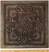 Copper Tile (TL982-10x10) Square Fleur Medallion Design