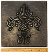 Copper Tile (TL993-6x6) Fernale Fleur De Lis Design