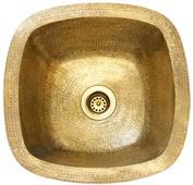 1-(SBV13-WBR-1) Square Contoured Brass Bar Prep Sink + Drain