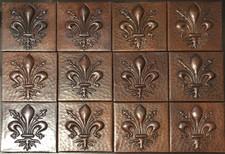 Copper Tile (TL346-12-4x4) Fleur De Lis Vine Design