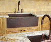 FHA33W1 COPPER FARMHOUSE SINK INSTALLED WITH COPPER SQUARE BAR SINK.