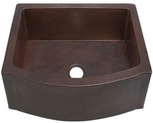 """FHA25RFE-25"""" Rounded Front w/Flat Ends copper kitchen sink"""
