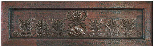 Copper farmhouse sink with blooming flowers design