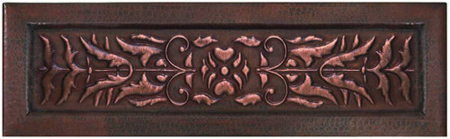 Copper kitchen sink with floral bird scroll apron front