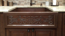 FLL-Floral Scroll Designer on our single bowl hammered copper farm sink.