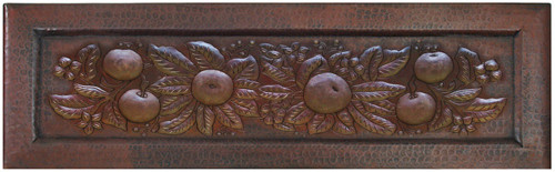 Copper kitchen farmhouse sink with fruit swag apron front