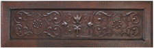 copper apron kitchen sink with floral trellis designer front
