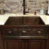 Grapes and floral designer copper sink