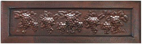 Grapevine design on copper apron front sink