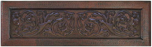 Iman scroll copper farm sink apron front