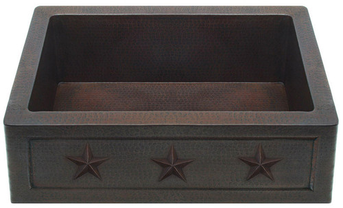 Farmhouse Front with Star designs on hammered copper sink