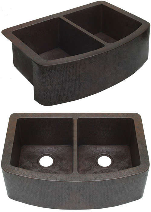 Rounded front farmhouse copper kitchen sink with double bowls