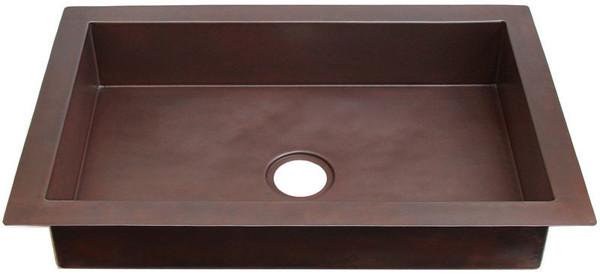 Kitchen (KDI-SM-Shallow) Shallow Copper Sinks-Single Bowls-11 sizes