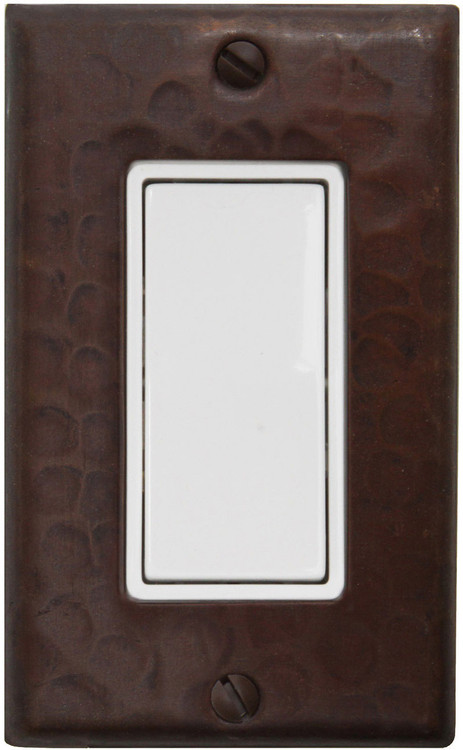 Hammered copper single rocker decora switchplate cover