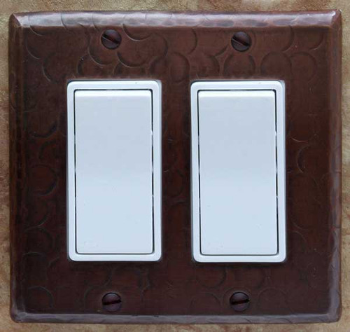 Double decora style copper rocker switch plate cover