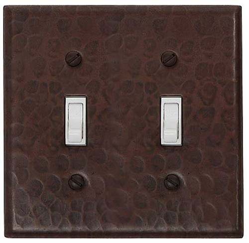 Double toggle switchplate cover in hammered copper
