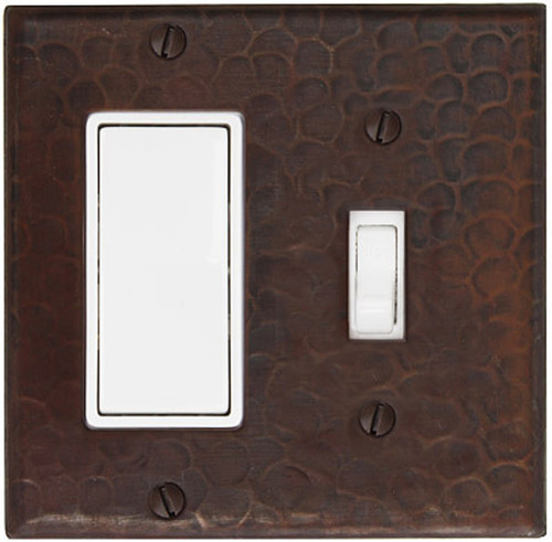 Decora rocker and single toggle copper switch plate combo