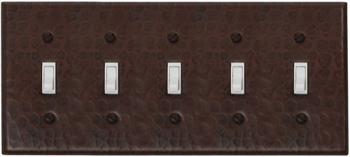 5 gang toggle copper switch plate combo