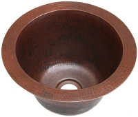 (RBV10) Mini Round Hammered Copper Bar Sink