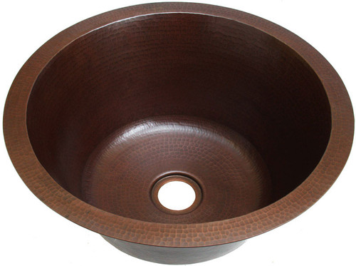 Hammered round copper bar sink