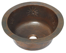 Round hammered copper bar sink with infinity sun design