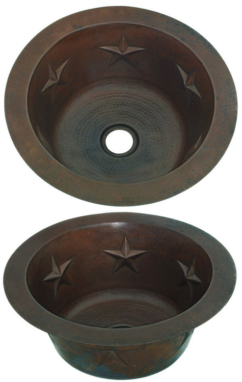 Round hammered copper bar sink with star design
