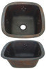 Square copper bar sink with Fleur De Lis design