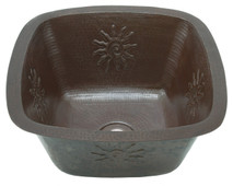 Square copper bar sink with infinity sun design