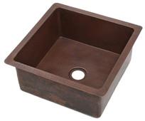 Hammred square copper bar sink