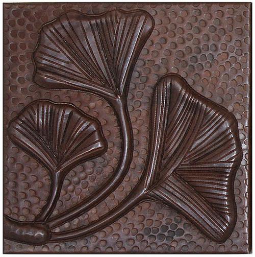 Fern leaves copper tile