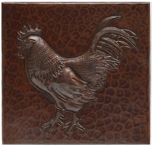 Rooster copper tile