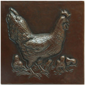 Hen and chicks designer copper tile
