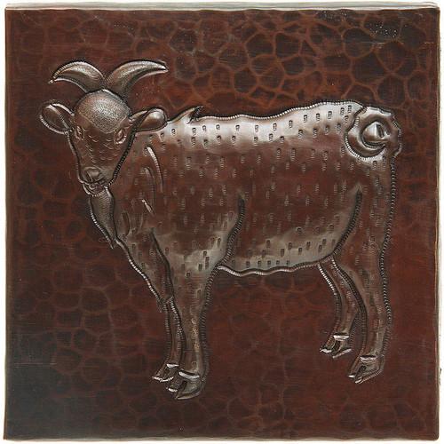 Goat design copper tile