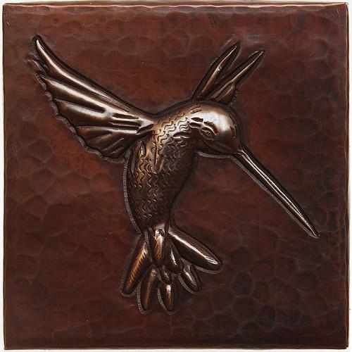 Hummingbird design copper tile